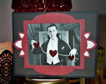 Dracula Heart Banner Horror Greeting Card