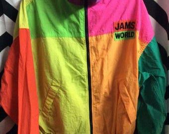 SOLD OUT! Do not purchase! Jams World Windbreaker Jacket - Zip-up - Multi Color Block Design - Honolulu