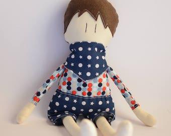 Male Fabric Doll - Little boy Handmade doll - Cloth doll for little boy - blue soft doll - brown hair doll