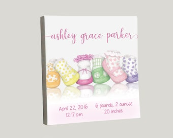 Baby Girl Canvas, Personalized Birth Announcement, Newborn Gift, Birth Stats, New Baby Gift, Nursery Artwork, Pastel Colors, Newborn Artwork