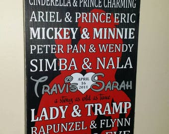 12 x 22 Disney Beauty and the beast Prince and Princess personalized with your names wood sign