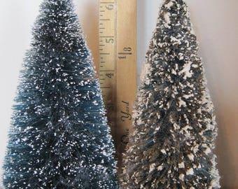 """Bottle Brush Christmas Trees, 2 Bottle Brush Trees, 6.5""""-7"""" Xmas Trees"""