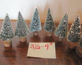 "Bottle Brush Christmas Trees, 7 Bottle Brush Trees, 3.5""-4"" Xmas Trees"