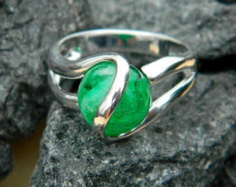 Stone glows in the Dark - Interchangeable Marble Ring with handmade 10mm (glow in the dark) glass marble