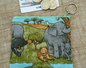 Elephant lioness zebra wild animal safari Coin Purse Credit Card pouch Key Ring Fully Lined Birthday Gift Ships from UK