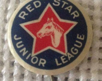 Antique WWI Era Red Star Junior League Pinback Button---Animal Relief Fund Raising To Support War Effort--Albany, New York Branch