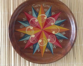 Vintage Souvenir Wooden Plate From Costa Rica--Hand Painted Colorful Sunburst/Pinwheel Design--Costa Rican Folk Art--Treen/Treenware