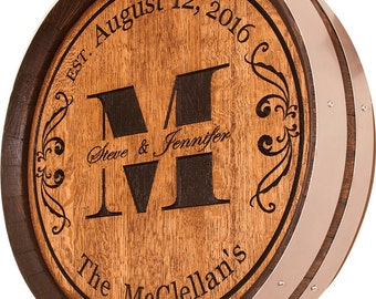 Personalized Wedding Gift Custom Carved Wine Barrel Top