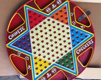 Vintage The Ohio Art Co. 2 in 1 Metal Tin Litho Chinese Checkers No. 538 Pristine Mint Condition No Checkers or Marbles