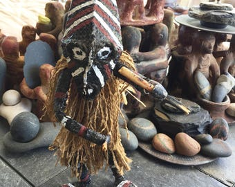 South African Ceremonial Witch Doctor Tribal Makishi Tribe Zimbabwe Doll Figure Voo Doo