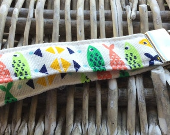 Fish print fabric keyring / keychain / lanyard