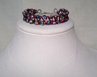 Cloisonné bead and wire wrap cuff bracelet