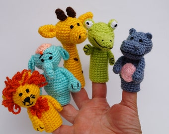 Crochet finger puppet finger theatre Toddler Toys play theater finger toy africa animals safari baby shower gift toys for babies Waldorf toy