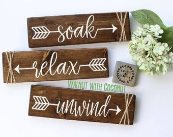 Relax Soak Unwind Bathroom Wall Decor Farmhouse Bathroom Rustic Bathroom Decor Bathroom