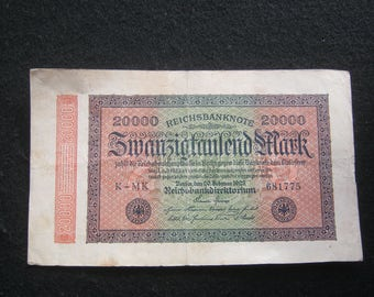 10 piece Empire banknotes twenty thousand mark 1923 Germany, inflation money, good condition,.