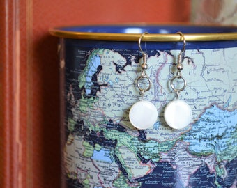 Lovely Dainty White Coin Earrings, Springtime Jewelry