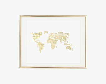 World Word Map Gold Foil Print- Real Foil