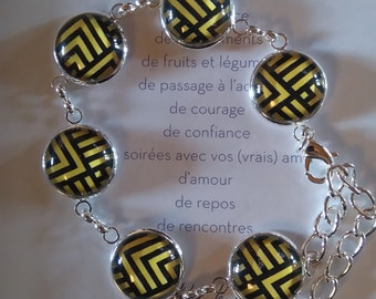Ethnic bronze color bracelet black and yellow