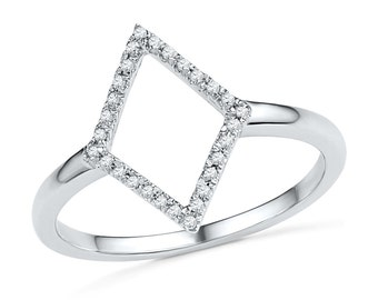 Diamond Shaped Ring In 10k or 14k White Gold With 1/10 CT. T.W. Diamond, Or Sterling Silver Fashion Ring, Statement Ring