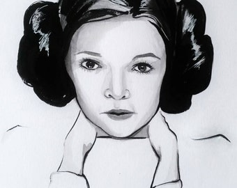 Original painting of Carrie Fischer / Princess Leia  / Star Wars tribute / rip our princess in the stars