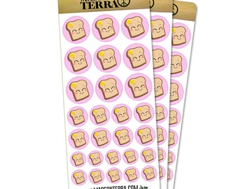 Cute Toast With Butter Removable Matte Sticker Sheets Set