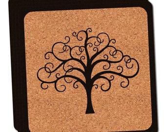 Tree Of Life Thin Cork Coaster Set Of 4