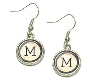 Letter M Typewriter Key  Dangling Drop Charm Earrings
