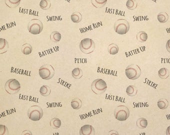 Sporty Baseball Kraft Present Gift Wrap Wrapping Paper
