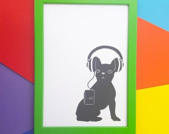 Frenchie print / Frenchie in headphones / Dog print / French bulldog print - A4, A5 or A6