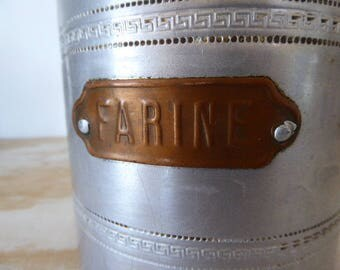 Aluminium Storage Jars, Brass Labelled Canister Set, Set 4 Vintage French Storage Jars 0417014-117