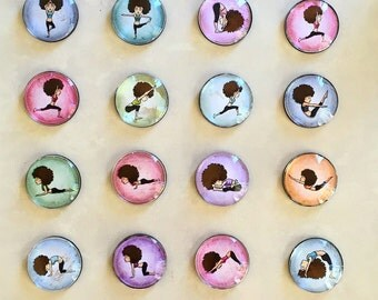 Yoga Glass Fridge Magnets / Paperweight / Yoga gift / Gift for Friends Doing Yoga / party bag fillers / Event Giveaways - 4 for 12AUD