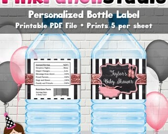 Personalized Printable Pink Rose Gold Glitter Black and White Stripe Ballet Ballerina Baby Shower Water Bottle Label PDF File