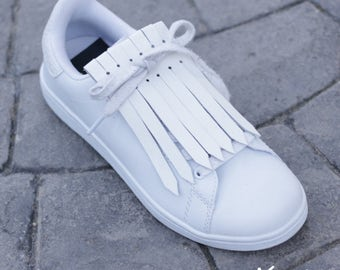 Fringed Leather for sneakers - White