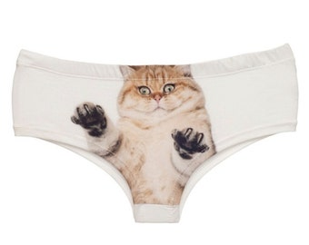 Scary Cat panties, Pussy Cat underwear, Hipster panties style fit - Laser printed panties
