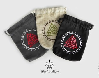 Embroidered rune pouch. Valknut. Rune bag. Runic divination. Rune casting. Magic accessories. Asatru. Odinism. Galdor. Elder Futhark. Norse