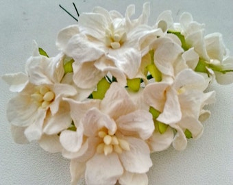 10, 25 pcs. Large GARDENIA mulberry paper flower white color 4 cm.,scrapbook,home decor,wedding & headband,other crafts