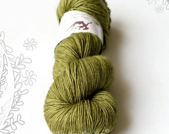 SILK MELODY - Artichoke - hand dyed, extra fine merino and mulberry silk yarn, for knitting or crochet, singles