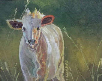 Cow in a Field Original Watercolor and Gouache Painting