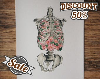 50% OFF Ribs skeleton, lungs anatomy, flowers print art, water lily in the lung, Foam of the Days, Boris Vian, human breath, drawing