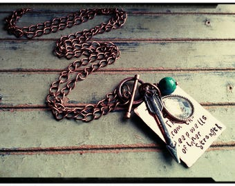 Poetry Necklace • Hammered/Textured Copper - Mixed Metal//Silver Charms//Arrow//Toggle Chain - inspirational Gift for Her -Boho/Gypsy/Hippie