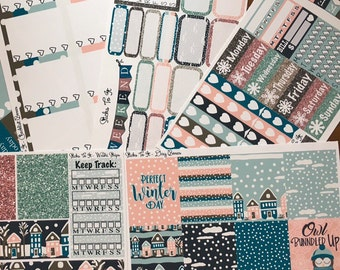 Sleepy Winter Town ECLP Weekly Kit Mambi Happy Planner Stickers Check Lists Daily Boxes Washi Strips