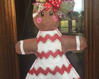 Gingerbread Girl Door Hanger (Chevron)