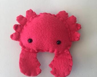 Small Crab Plushie, Handmade Red Crab, Felt Animal, Small Gift