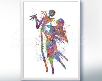 The Nightmare Before Christmas Jack and Sally Watercolor Poster Print - Watercolor Painting - Watercolor Art - Halloween - Thanksgiving [2]