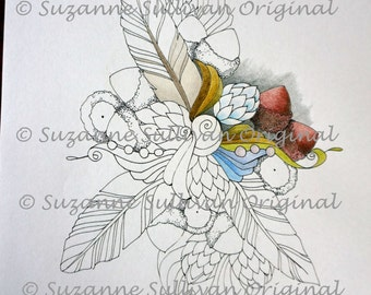 Feather and Acorn Coloring Page, Adult Coloring Page, Printable Download, Coloring Book Page, Feathers, Acorns, Coloring, Relaxation Therapy