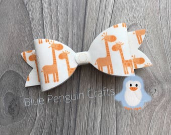 Large hair bow, hair accessories, giraffe bow, handmade bow, UK Seller, giraffe clip, girls barrette clip, clothing accessory