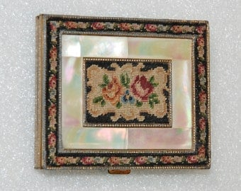 Vintage Schildkraut Petitpoint and Mother of Pearl Square Compact, 1940's. Free Shipping!