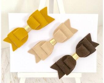 Set of hair bows,mustard hair bow, latte hair bow, brown hair bow, gold hair bow, girls hair bow, girls hair accessories