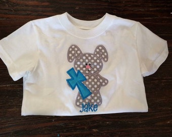 Custom embroidered easter shirt- BUNNY with cross- NAME FREE