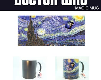 Doctor Who Starry Night Tardis Magic Mug Changing Color Coffee Tea Illustration